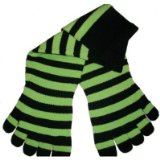 Black Green Apple Stripes toe socks!
