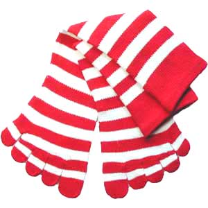 Red and White Striped Toe Socks!